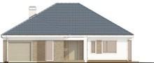 Проект одноэтажного коттеджа с гаражом и 4 уютными спальнями