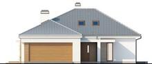 Проект одноэтажного классического коттеджа с гаражом и мансардой