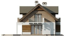 Проект уютного красивого коттеджа с мансардой и оригинальным фасадом