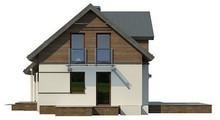 Проект стильного одноэтажного коттеджа с мансардой и большим фронтальным окном