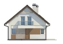Проект небольшого аккуратного дачного дома с мансардой и двускатной крышей