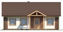 Проект простого одноэтажного дома, выполненного в классическом стиле с двускатной кровлей