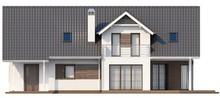 Проект коттеджа со встроенным гаражом, угловой террасой и кабинетом