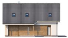 Проект коттеджа с гаражом и большим мансардным окном