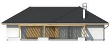 Проект одноэтажного коттеджа с фронтальным гаражом для двух машин