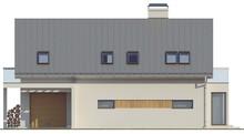 Проект дома с гаражом, стеклянным эркером и балконами