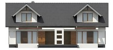 Проект практичного коттеджа с мансардой и удобным балконом