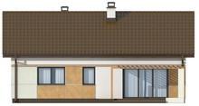 Проект небольшого аккуратного одноэтажного дома с двускатной крышей