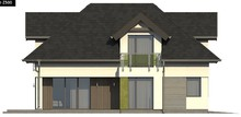 Проект дома с интересными окнами и гаражом на два авто