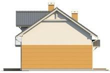 Проект дома с мансардой, балконом, и кухней со стороны сада