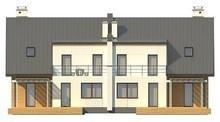 Проект дома на две семьи с отдельными гаражами и входами