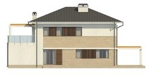 Проект стильного светлого красивого двухэтажного дома с гаражом и террасой