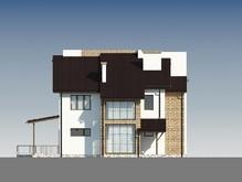 Двухэтажный светлый дом с необычной кровлей