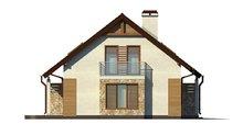 Проект аккуратного загородного одноэтажного дома с мансардой и гаражом для автомобиля