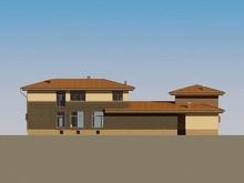 Архитектурный проект загородного большого жилого дома с бассейном внутри