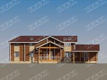 Архитектурный проект двухэтажной виллы с деревянным фасадом