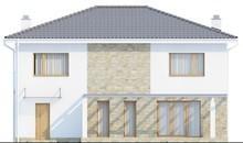 Проект двухэтажного коттеджа с гаражом для одной машины