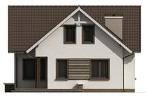 Проект простого дома с балконом над входом