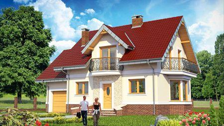 Проект современного коттеджа с патио и балконами