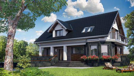 Проект усадьбы с мансардой со строгим фасадом