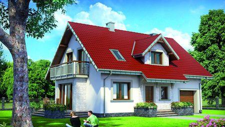Проект для строительства мансардного дома с пристроенным гаражом