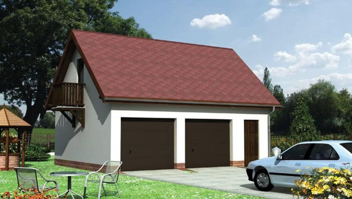 Архитектурный проект двухместного гаража с мансардой