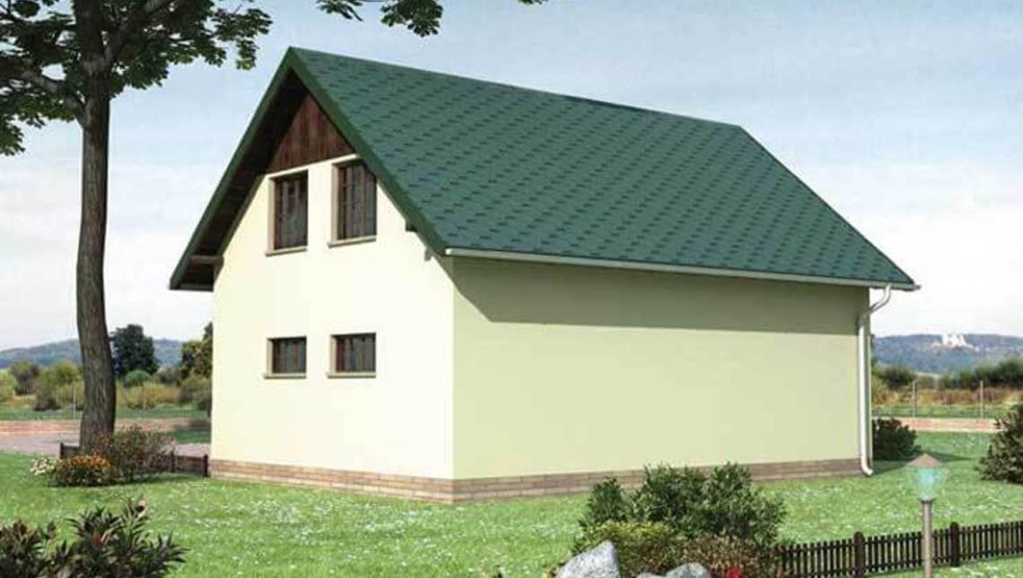 Проект большого гаража с санузлом и мансардой