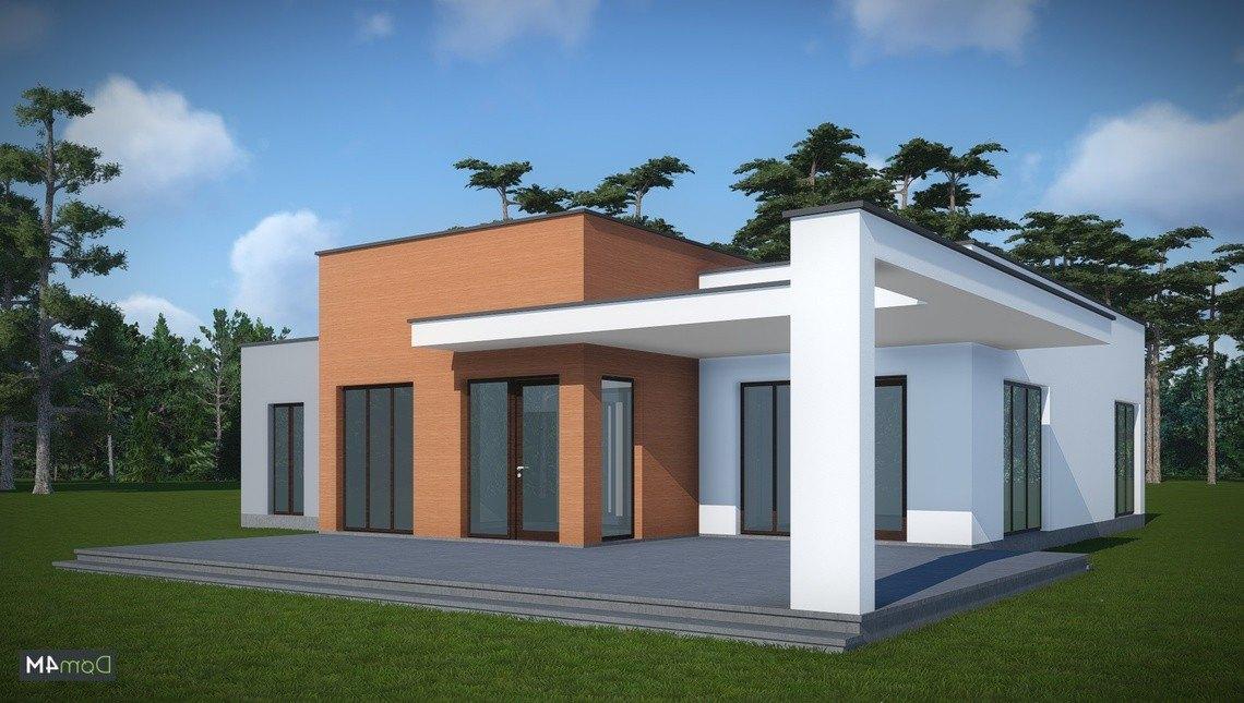 Архитектурный проект одноэтажного дома с плоской крышей