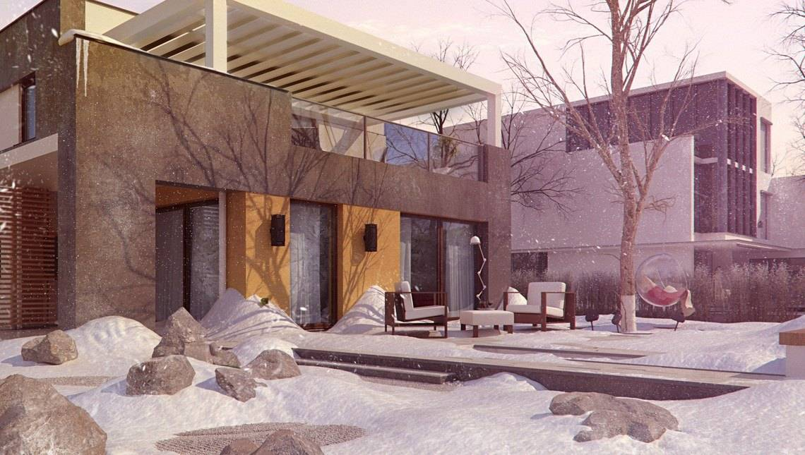 Ультрасовременный загородный коттедж с плоской крышей