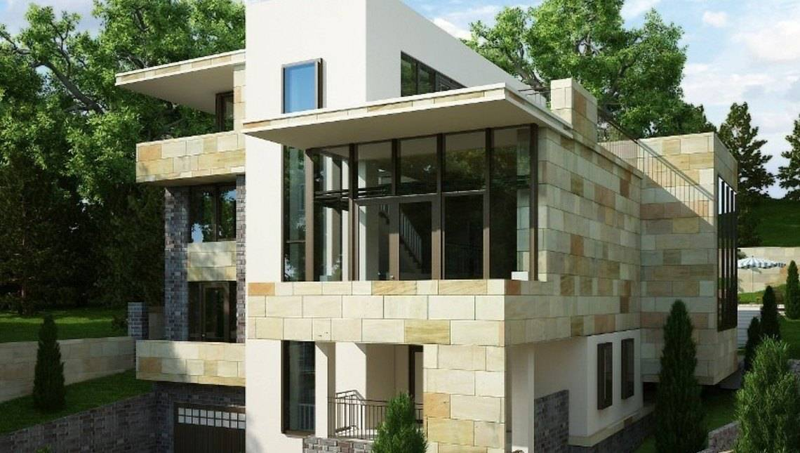 Проект трехэтажного особняка в стиле модерн для наклонного участка