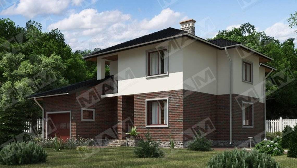 Двухэтажный коттедж с кирпичным фасадом