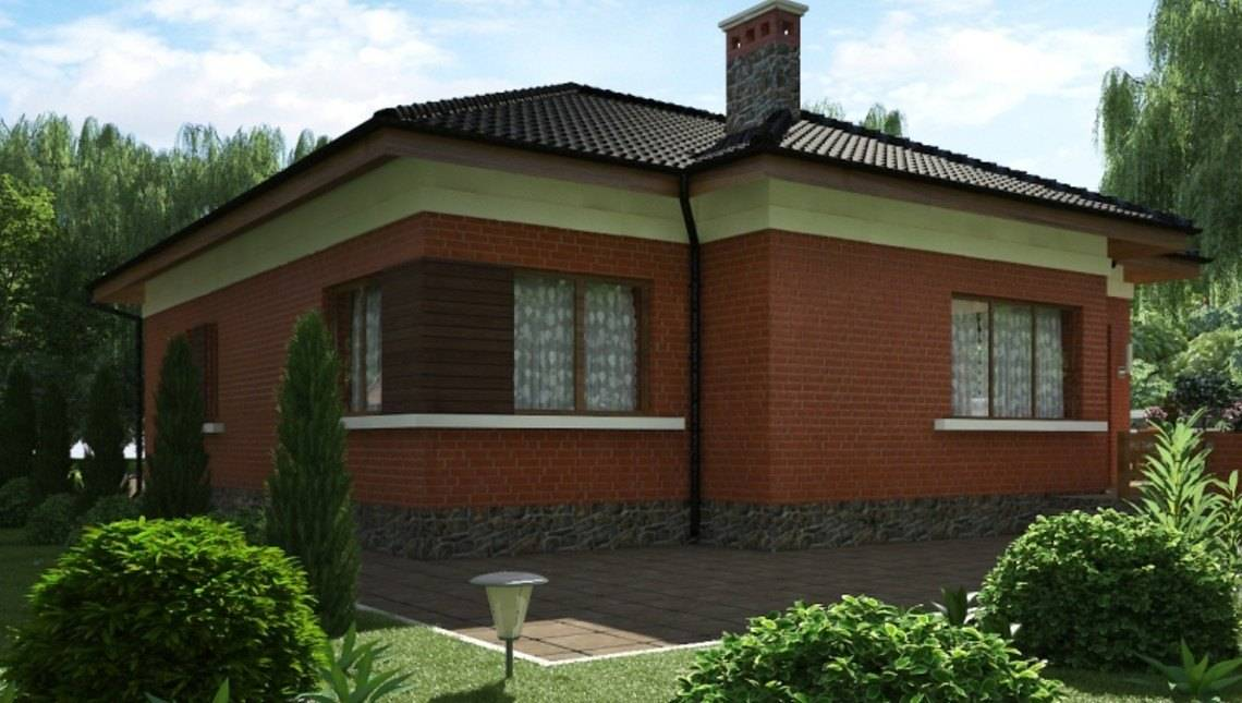 Проект коттеджа с кирпичным фасадом и сауной