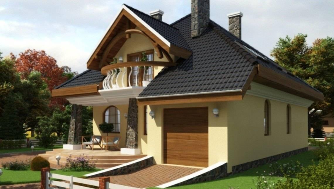 Классический красивый коттедж с интересным балконом
