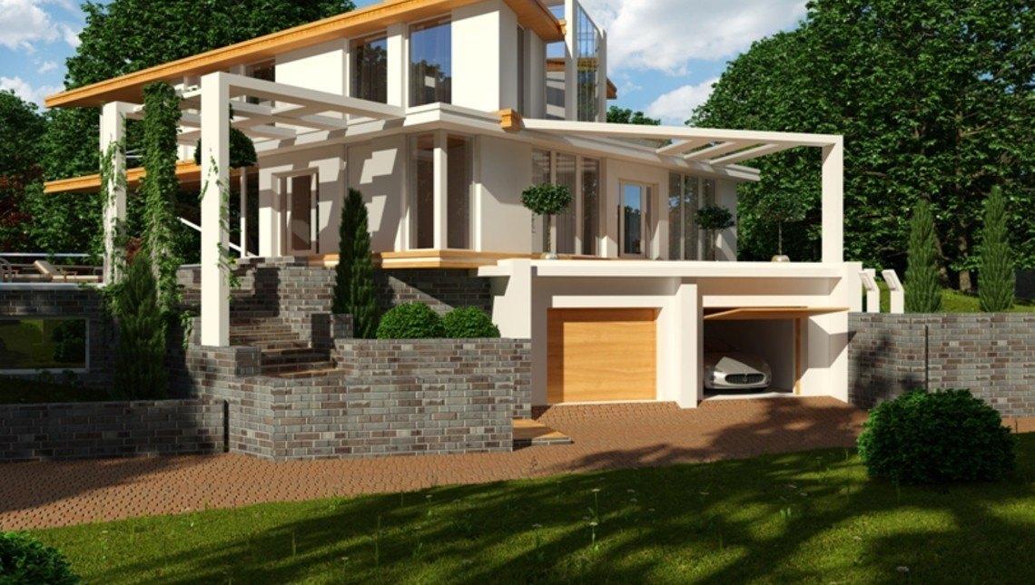 Вилла в стиле хай тек с гаражом в цокольной зоне