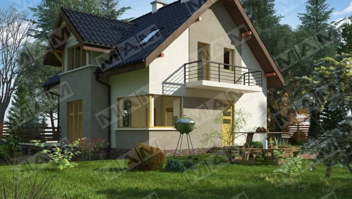 Проект небольшого коттеджа с мансардой и цокольным этажом