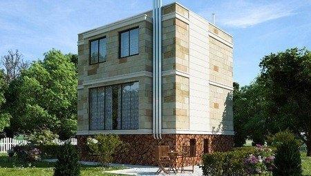 Проект оригинального современного дома с навесом в цоколе