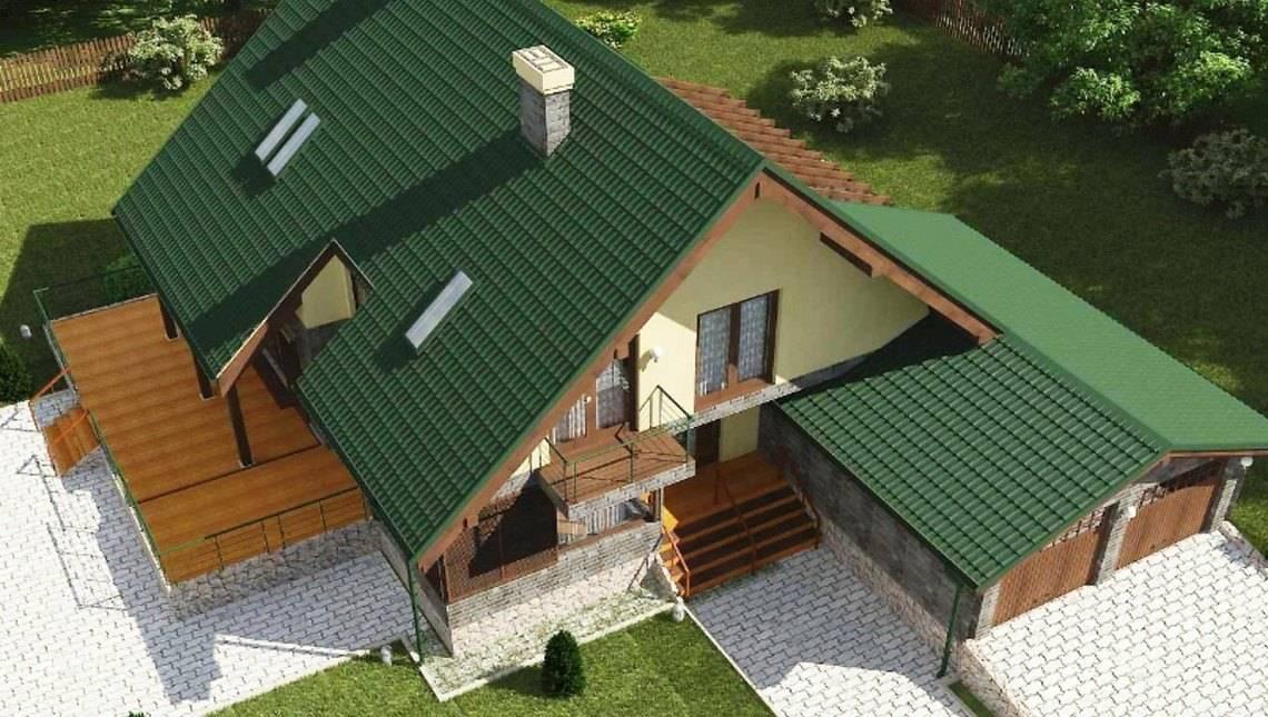 Дом с мансардой в английском стиле с зимним садом