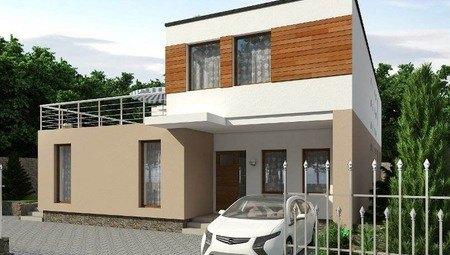 Проект современного дома Г-образной формы