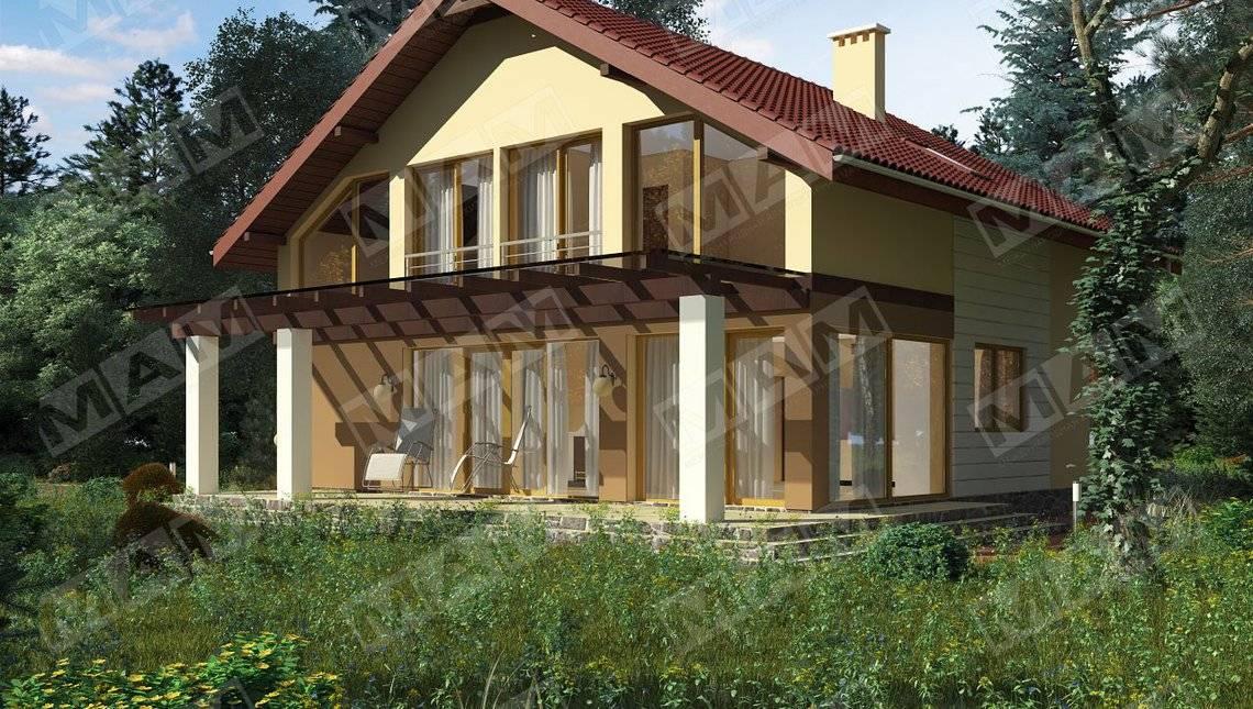 Проект очень практичного дома с мансардой и светлой террасой