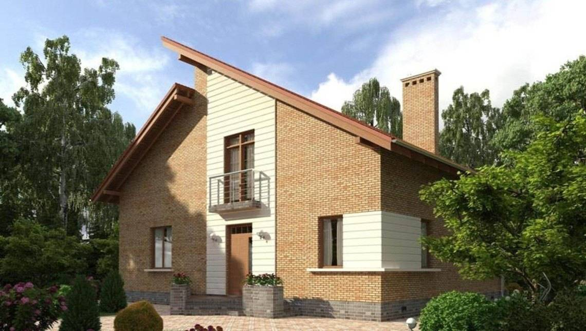 Проект оригинального коттеджа с кирпичным фасадом