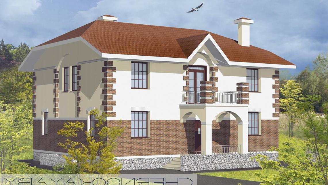 Проект роскошной двухэтажной загородной виллы