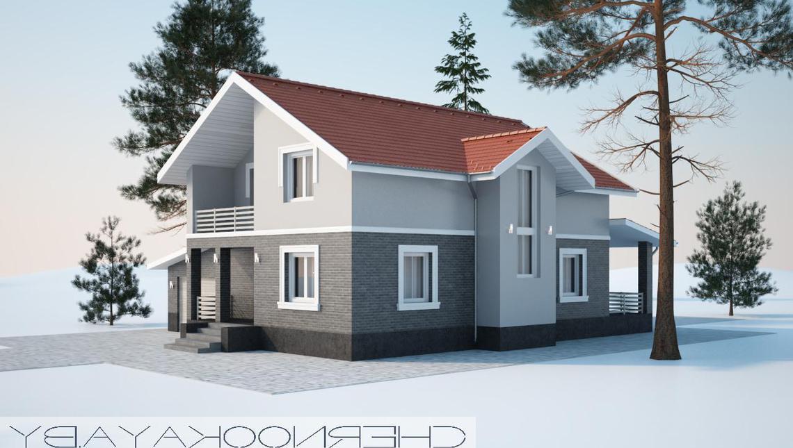 Архитектурный проект двухэтажного дома с красной крышей