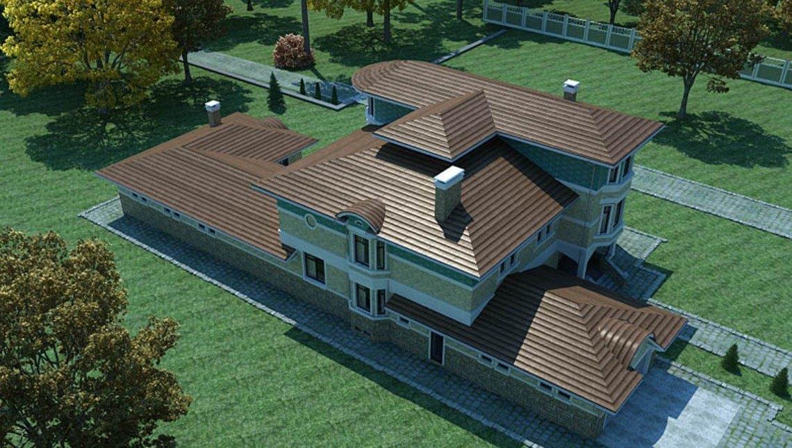 Проект большого двухэтажного дома с бассейном и гаражом для 2х авто