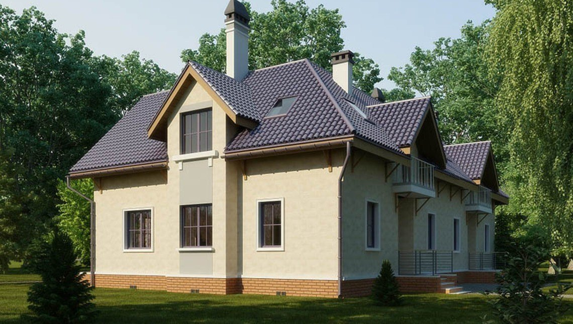 Архитектурный проект классического дома с мансардой