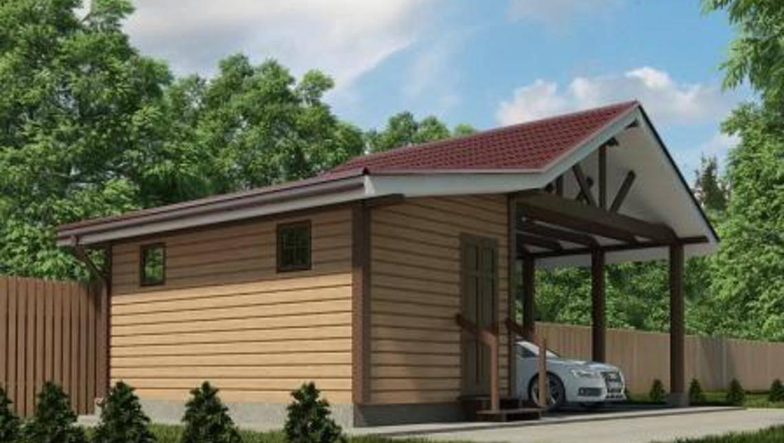 Проект деревянного навеса с хозяйственным помещением
