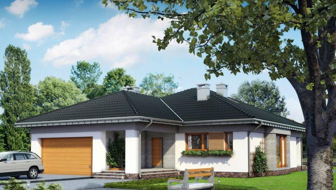 Одноэтажный дом с гаражом на 2 авто