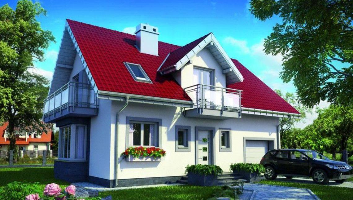 Проект стильного дома с верандой и балконами