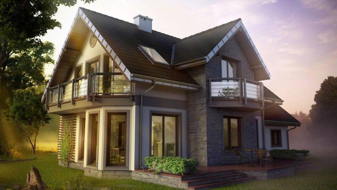Проект красивой усадьбы с террасой и балконом