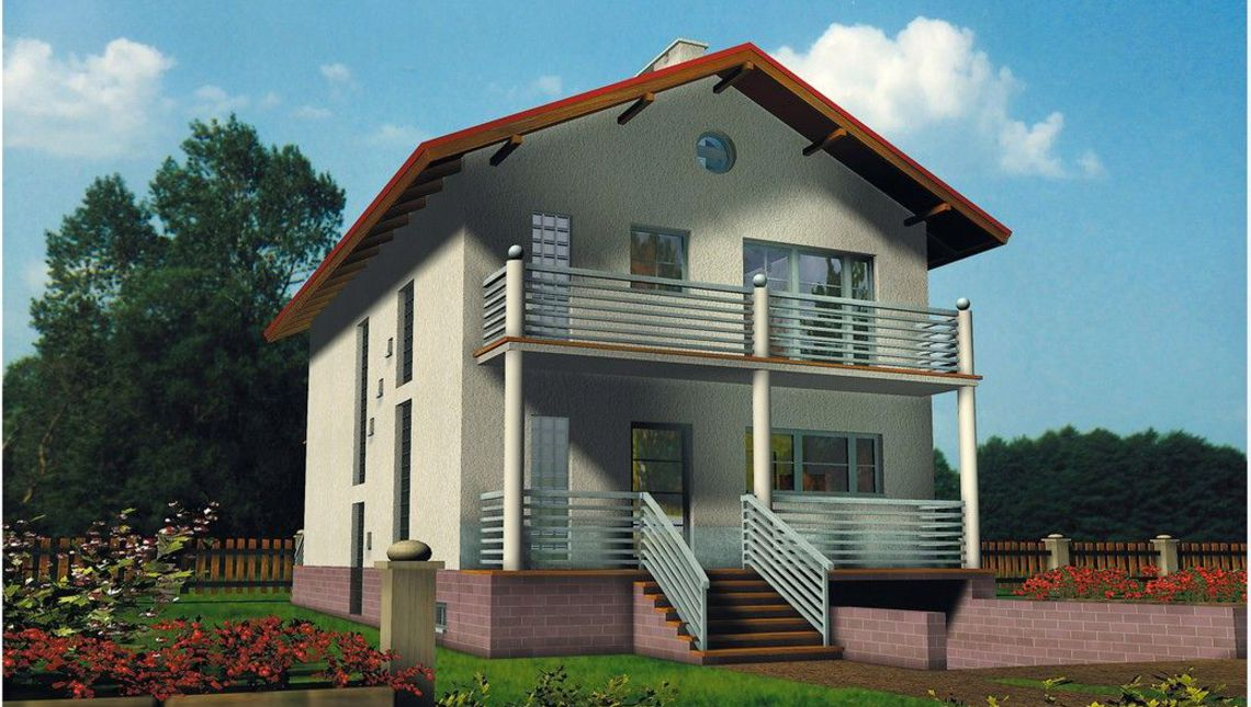 Удобный коттедж с балконами и выходом в сад