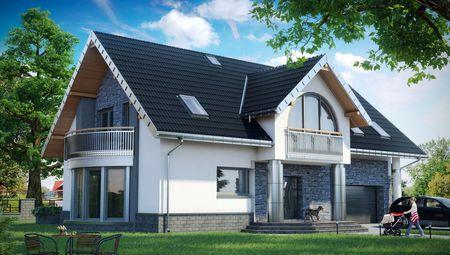Дом с мансардой и полукруглым балконом над эркером